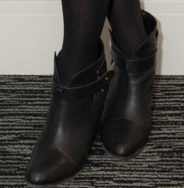Dianna Agron wearing black ankle booties from Rag & Bone