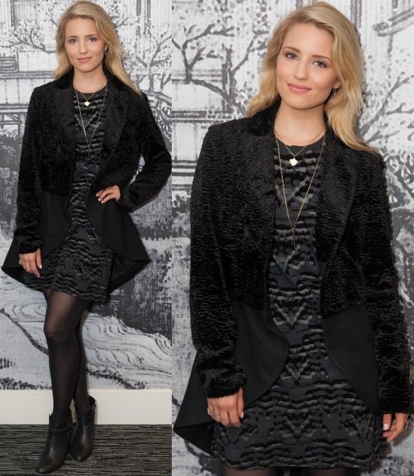 Dianna Agron looked cool and sophisticated in a stylish tail coat from Rodarte for Opening Ceremony over a short-sleeved dress with graphic prints from Theory