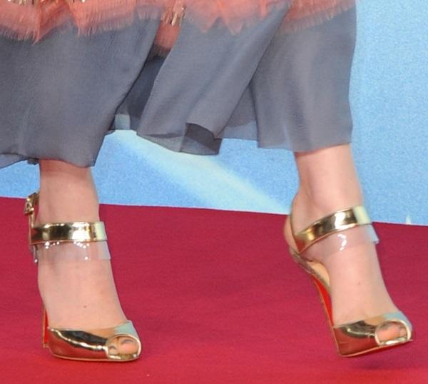 A closer look at Emma's gold sandals