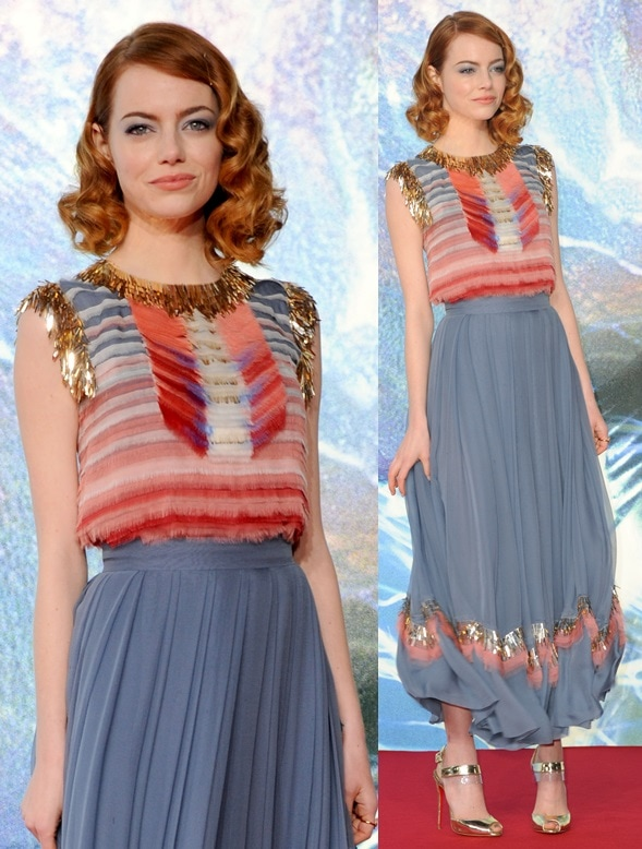 Emma Stone in a colorful Chanel ensemble and finished it with gold Christian Louboutin heels