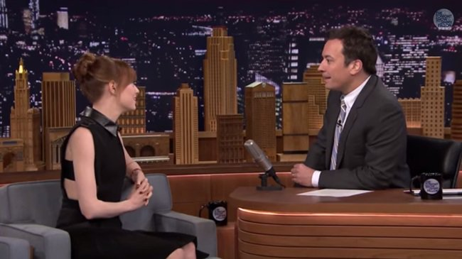 Emma Stone on The Tonight Show Starring Jimmy Fallon in New York City on April 28, 2014
