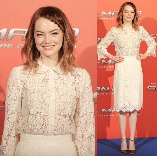 Emma Stone in matching lace separates from Dolce & Gabbana