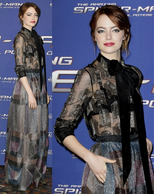 Emma wore a floor-grazing frock from Valentino