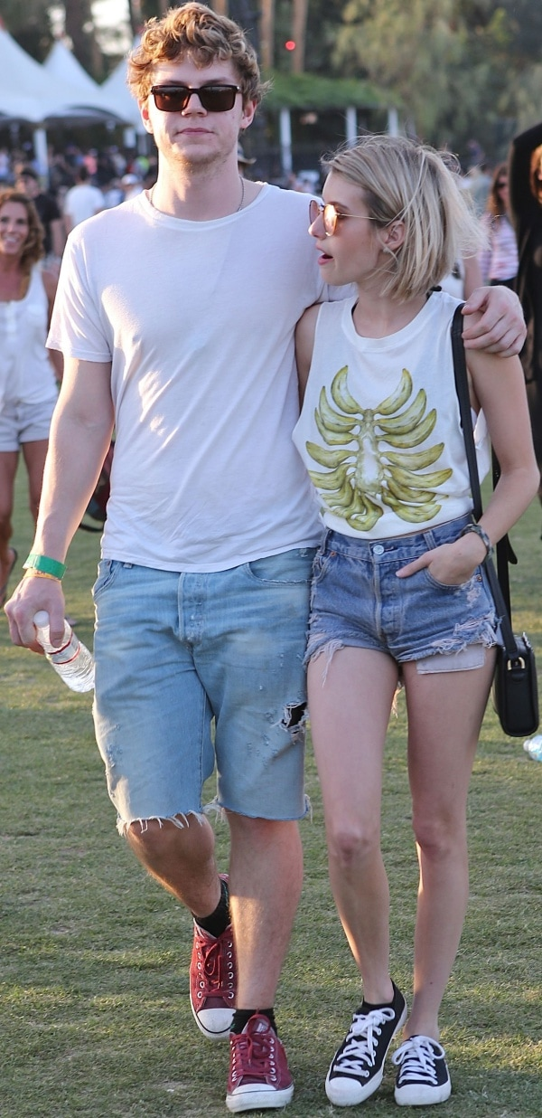 Evan Peters and Emma Roberts at the 2014 Coachella Valley Music andArts Festival