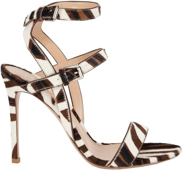 Gianvito Rossi Crisscross Ankle-Strap Sandals in Brown, Black, and White Zebra Print