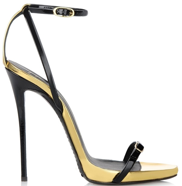 giuseppe zanotti ankle strap sandals in black gold mid heels thin stap double 2