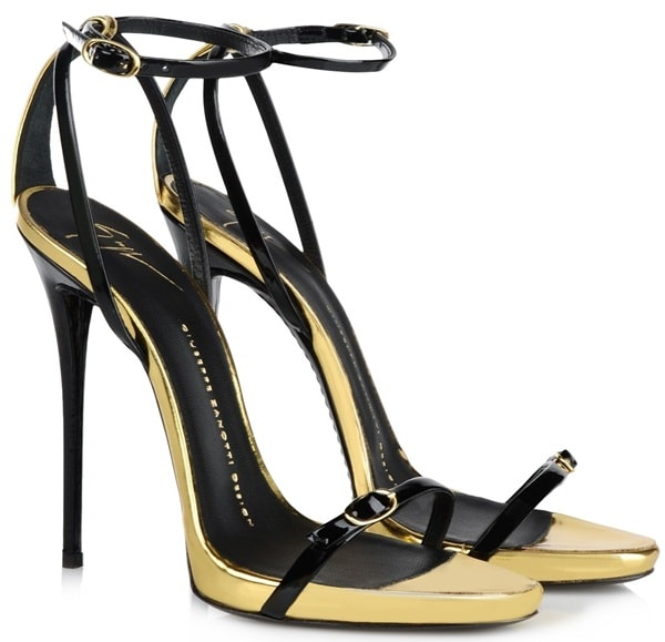 giuseppe zanotti ankle strap sandals in black gold mid heels thin stap double
