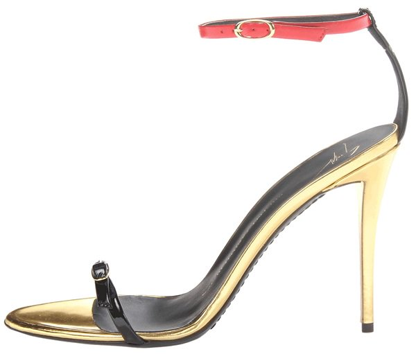 giuseppe zanotti ankle strap sandals in red black gold 2