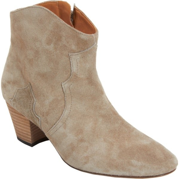 "Isabel Marant ""Dicker"" Ankle Boots in Taupe"