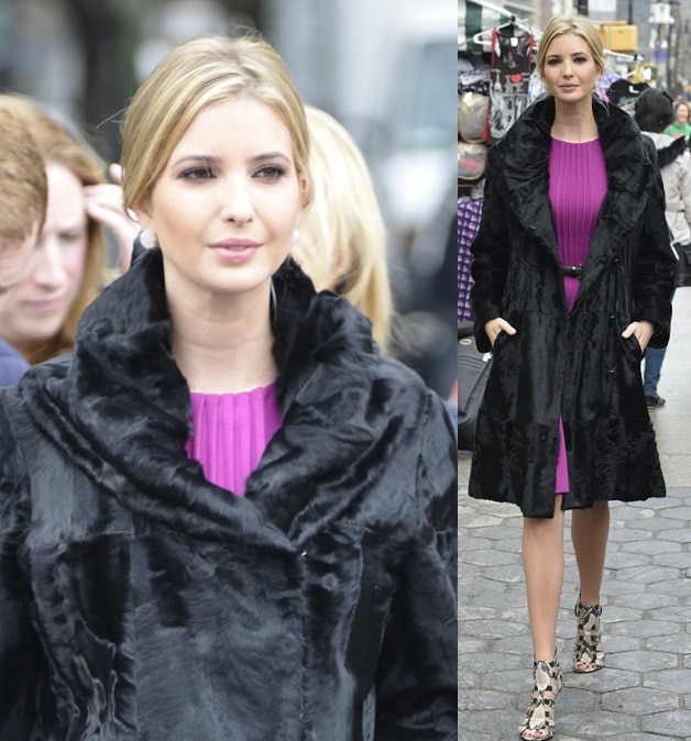 Ivanka Trump looked exceptionally regal in a black fur coat and a magenta-hued frock