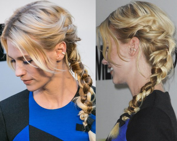January Jones' blonde locks were swept to one side and styled in a messy braid