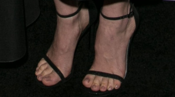 January Jones showing off her feet at the premiere of the seventh season of AMC's Mad Men