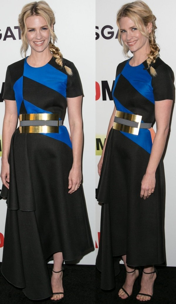 January Jones in a black-and-blue dress from Roksanda Ilincic's Fall 2014 collection