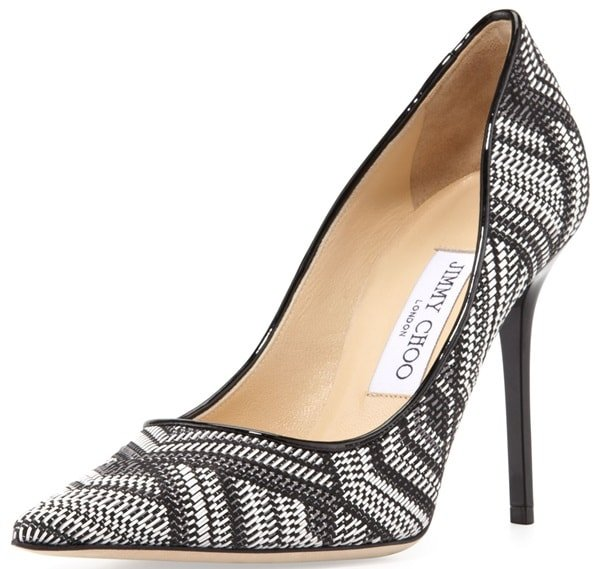 """Jimmy Choo """"Abel"""" Woven Leather Pointy-Toe Pumps"""