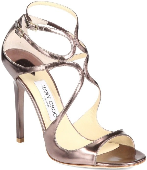 "Jimmy Choo ""Lance"" Sandals in Bronze Mirrored Metallic Leather"