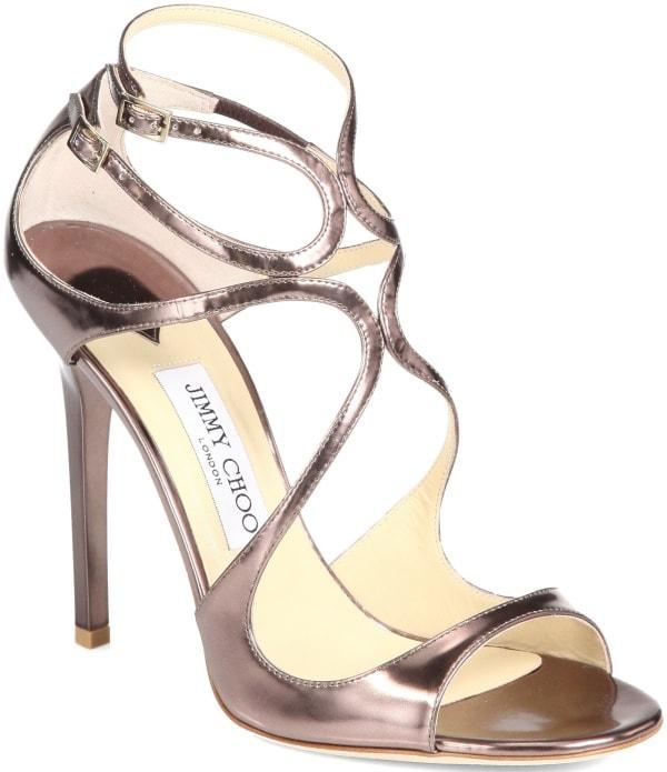 "Jimmy Choo ""Lance"" Sandals in Bronze Mirrored Metallic Leather"