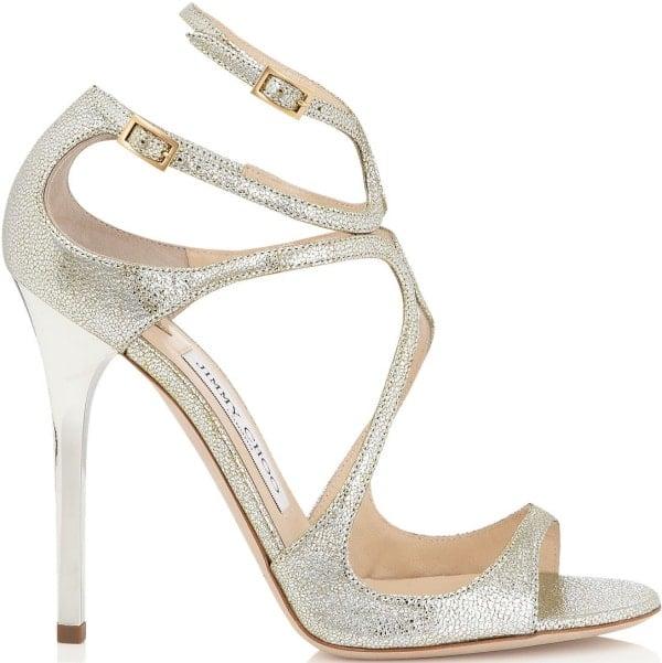 "Jimmy Choo ""Lance"" Sandals in Champagne Glitter"