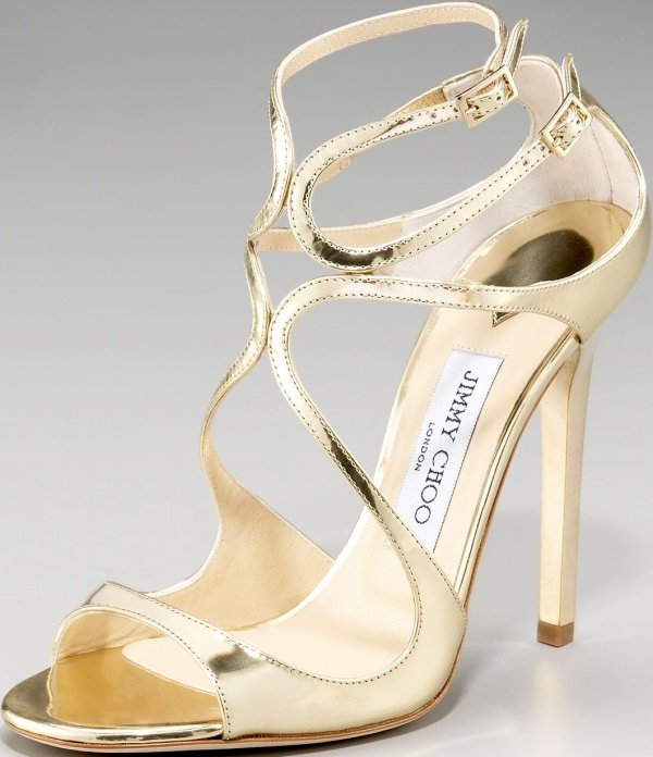 "Jimmy Choo ""Lance"" Sandals in Gold Mirrored Leather"