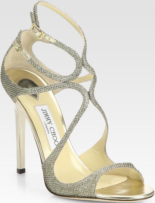 "Jimmy Choo ""Lance"" Sandals in Lamé Glitter"