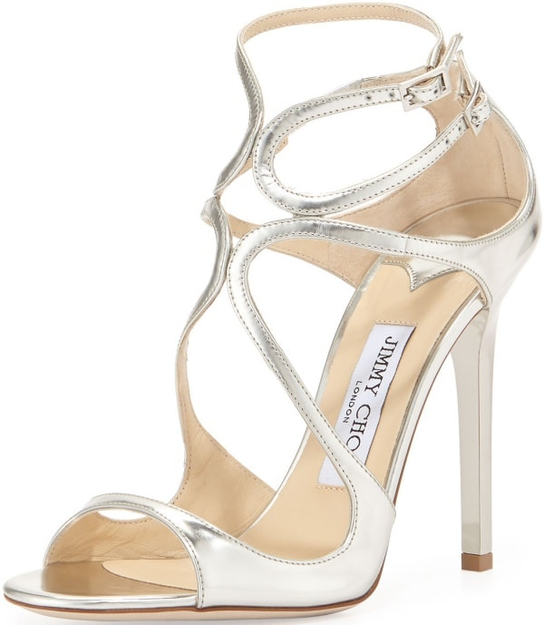 """Jimmy Choo """"Lance"""" Sandals in Silver Mirrored Leather"""