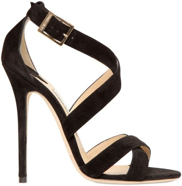 "Jimmy Choo ""Xenia"" Sandals in Black Suede"