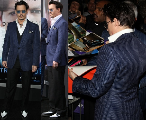 Johnny Depp at the premiere of 'Transcendence' held at Regency Village Theatre in Los Angeles, California, on April 10, 2014