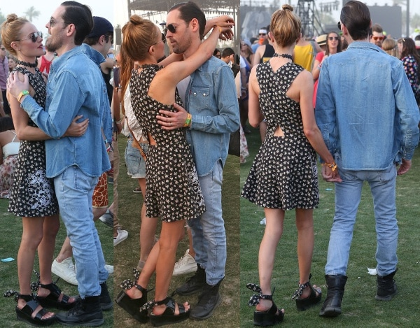 Kate Bosworth and Michael Polish were inseparable on day 2 of the Coachella Music and Arts Festival