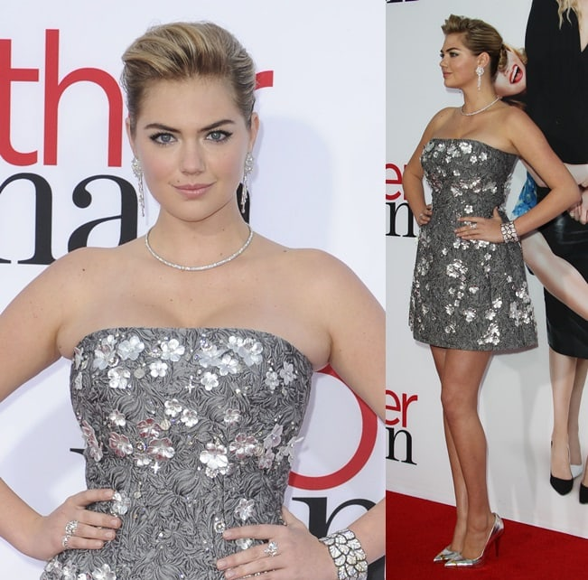 Kate Upton wearing a beaded Dolce & Gabbana dress with Giuseppe Zanotti shoes for the premiere of 'The Other Woman' in Los Angeles on April 21, 2014