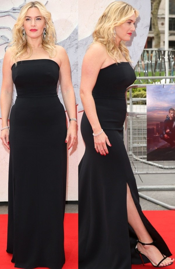 Kate Winslet wore a black strapless column gown from Jenny Packham