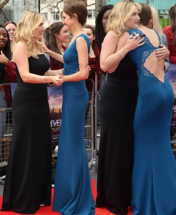 Kate Winslet and Shailene Woodley at the premiere of 'Divergent' held at the Odeon Leicester Square in London, England, on March 30, 2014