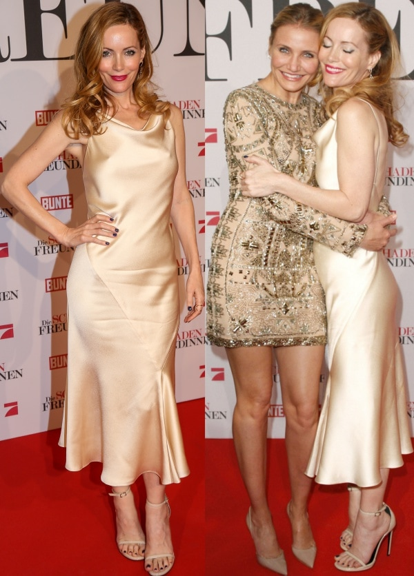 Leslie Mann, posing with Cameron Diaz, in a slinky champagne satin slip dress from The Row