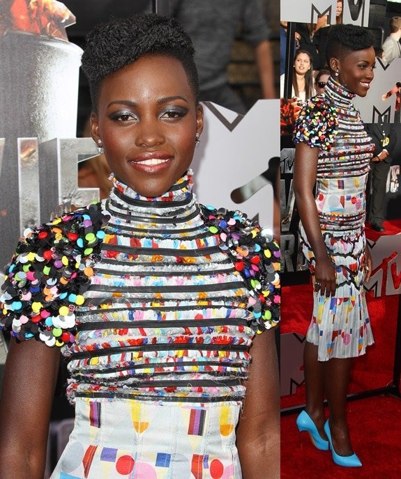 Lupita Nyong'o was a vision in a one-of-a-kind Chanel dress that was sprinkled with a million multicolored pailettes