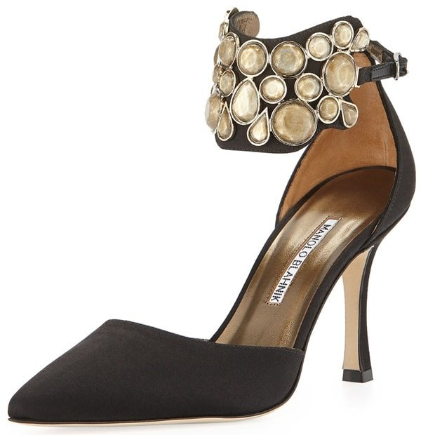 Manolo Blahnik 'Amatis' Embellished Ankle-Wrap d'Orsay Pumps