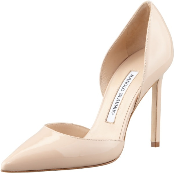 "Manolo Blahnik ""Tayler"" d'Orsay Pumps in Nude Patent Leather"