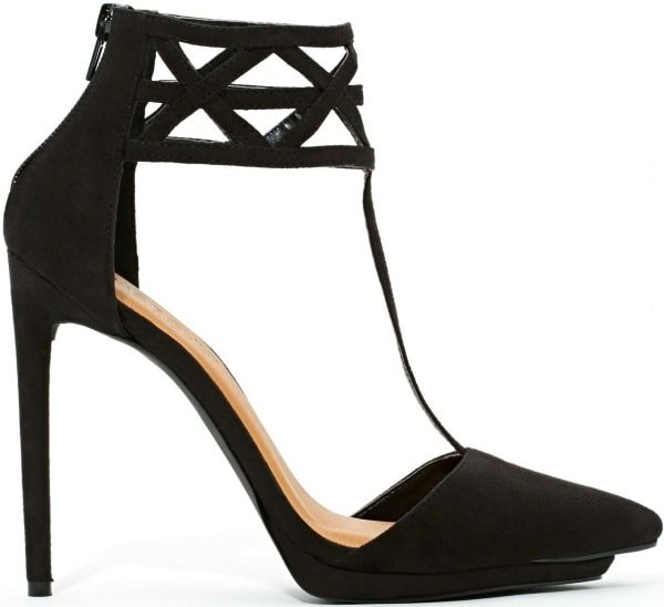 """Nasty Gal Shoe Cult """"Match"""" Cage Pumps in Black"""