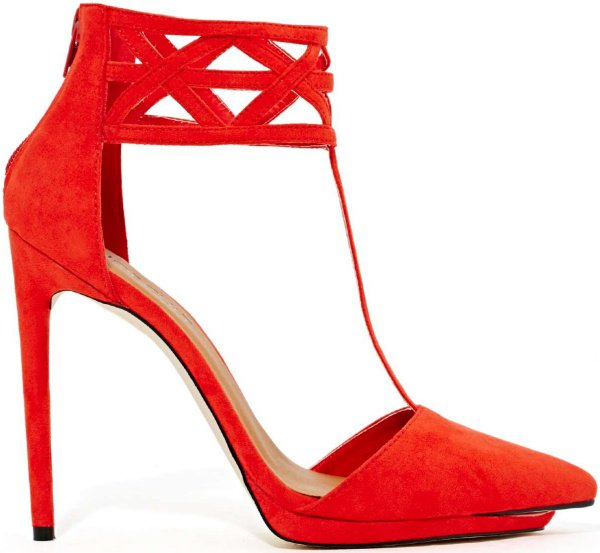 """Nasty Gal Shoe Cult """"Match"""" Cage Pumps in Poppy"""