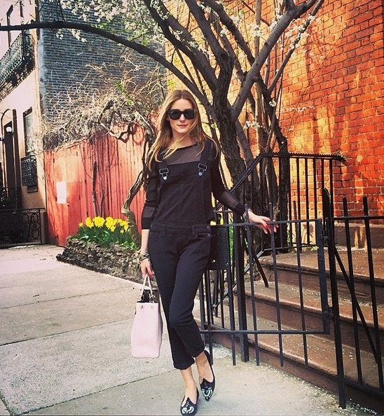 olivia palermo overalls ralph lauren blouse statement pointy flats