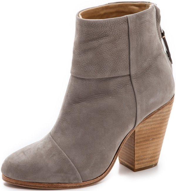"Rag & Bone Classic ""Newbury"" Ankle Boots in Gray Nubuck Leather"