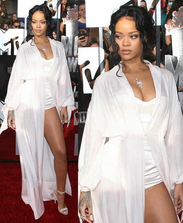 Rihanna in a lingerie-inspired outfit paired with Manolo Blahnik ankle-strap sandals at the 2014 MTV Movie Awards in Los Angeles on April 13, 2014