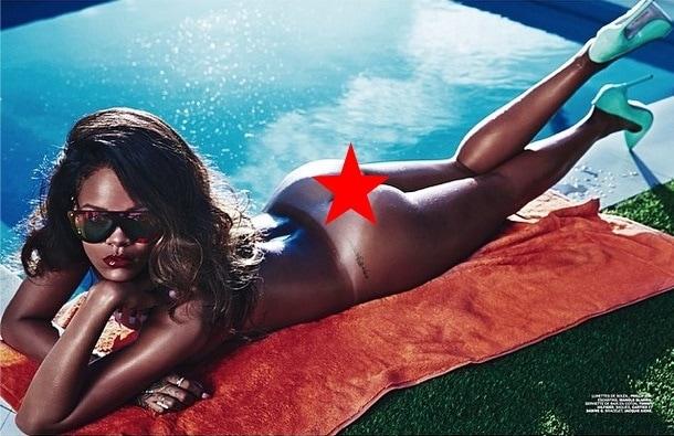 A butt naked Rihanna flaunts her ass