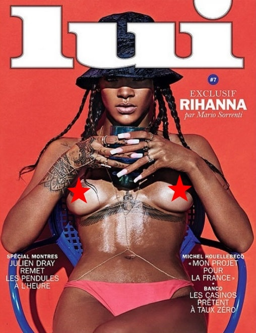 Rihanna poses topless inLui, a French adult entertainment magazine