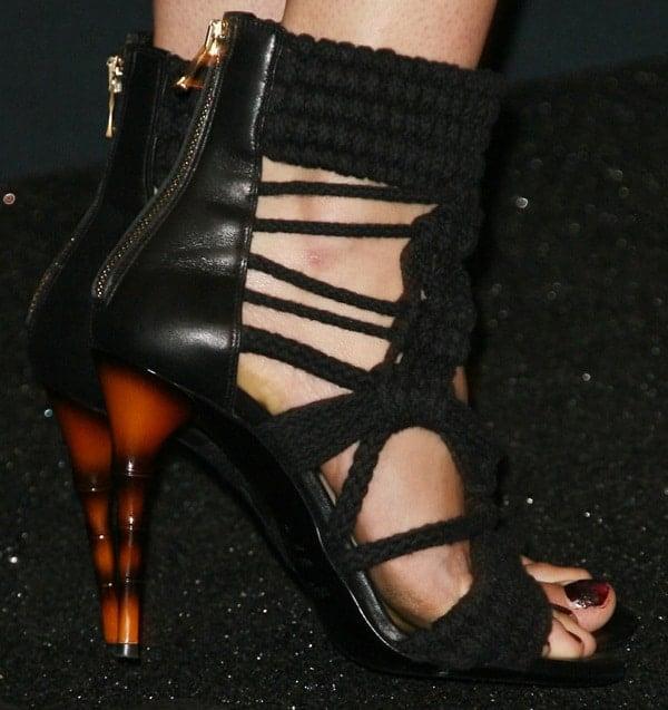 Shailene Woodley wearing super gorgeous black woven sandals from Balmain