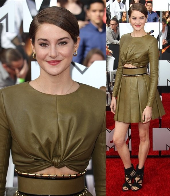 Shailene Woodley looking chic and edgy in head-to-toe Balmain on the red carpet of the 2014 MTV Movie Awards in Los Angeles on April 13, 2014