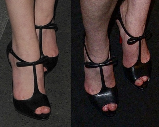 Sophie Turner's feet in bow-detailed t-strap heels