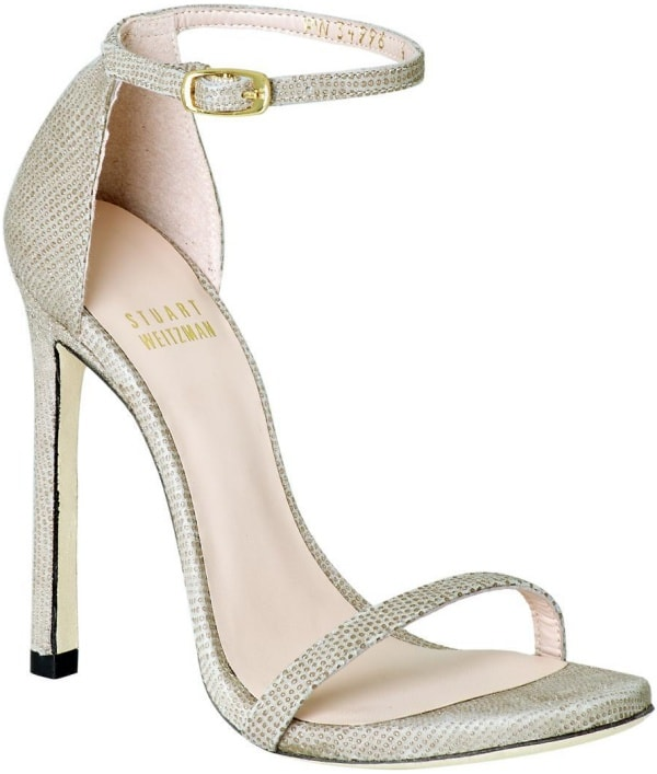 "Stuart Weitzman ""Nudist"" Sandals in Fawn Goose Bump Nappa"