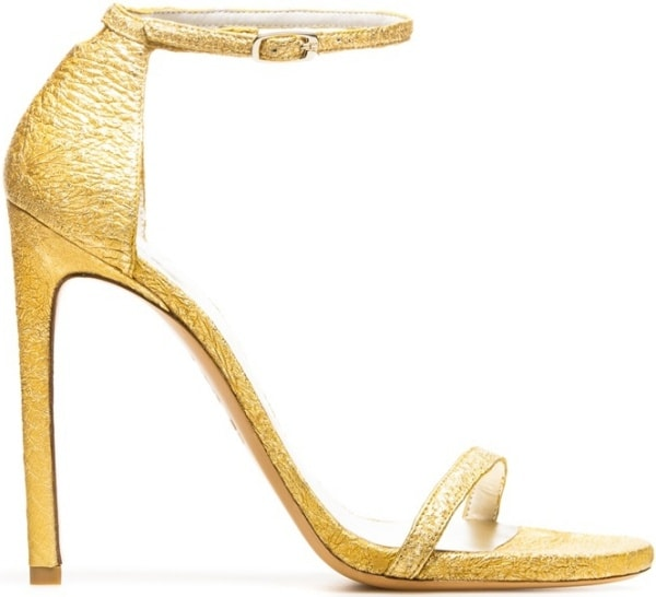 "Stuart Weitzman ""Nudist"" Sandals in Oro Foil Nappa"