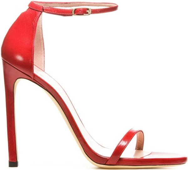 "Stuart Weitzman ""Nudist"" Sandals in Red Nappa"