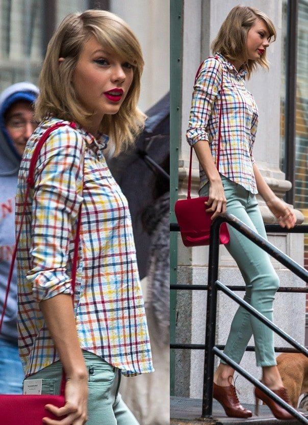 Taylor Swift in pastel skinnies and a colorful checkered button-down shirt