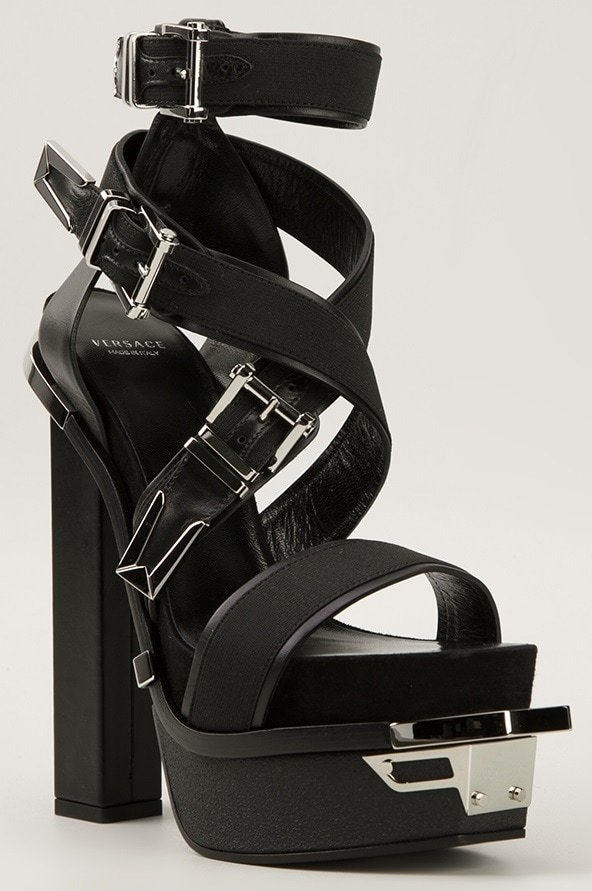 73e553dc82b Allegra Versace s Thin Frame Makes Her Platform Booties Stand Out