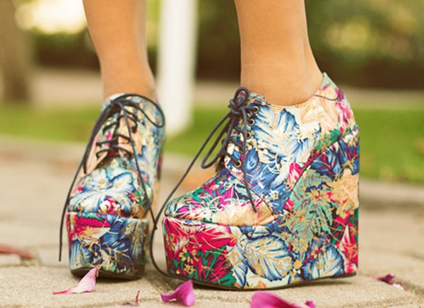 Alana's floral wedge shoes